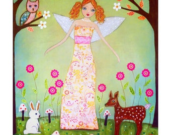 Cute Redhead Forest Fairy with Woodland Animals Painting Art Print