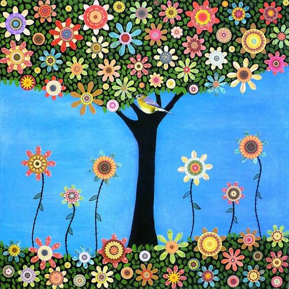 Folk Art Tree Painting, Bird Tree Collage Painting Art Print on Wood