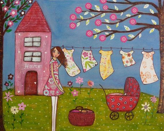 Laundry Room Decor, Whimsical Laundry Art, Home Decor, Summer Dress Washing Line