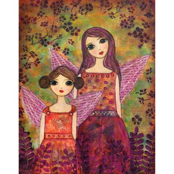 Whimsical Fairy Painting, Sister Painting, Art Print on Wood, Fairy Decor