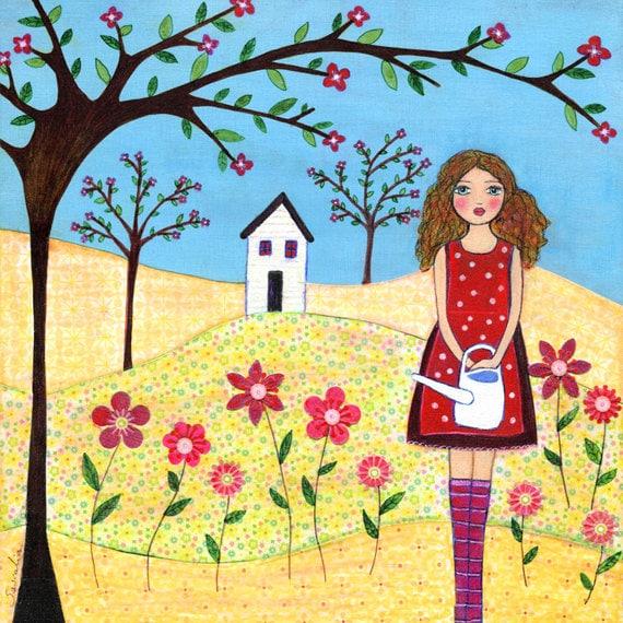 Folk Art, Mixed Media Girl Painting, Nursery Art Print, Children Decor, Nursery Decor Mounted on Wood