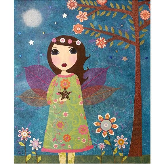 Star Fairy Painting Art Print Mounted on Wood - Fairy Tale Painting