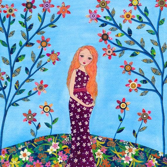 Items similar to Folk Art Painting, Motherhood, Pregnant ...