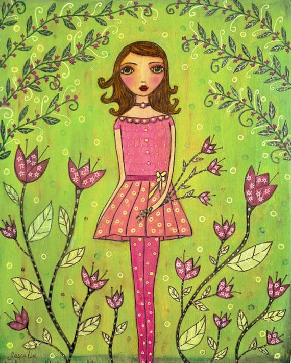 Folk Art Print, Whimsical Girl Print for Nursery Decor