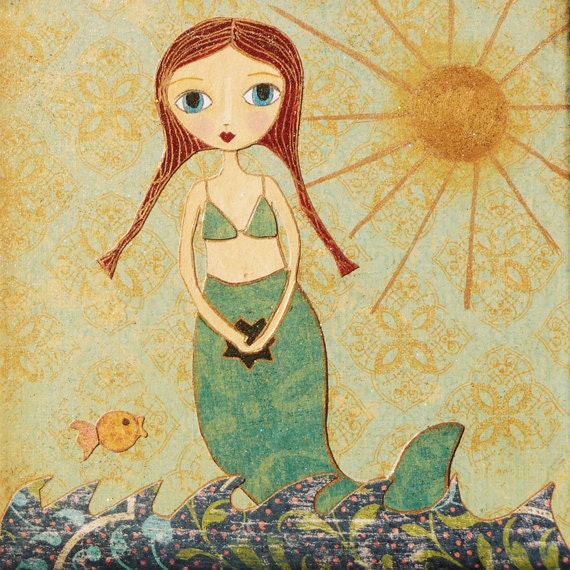 Mermaid Art Print Children Decor Girl Nursery Decor Cute