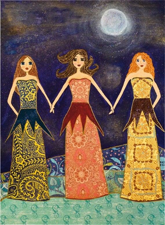 Friendship Friends Art Block, Friendship Whimsical Art, Three Girls Sisters Best Friends Art, Three Best Friends Art, Three Sisters Art