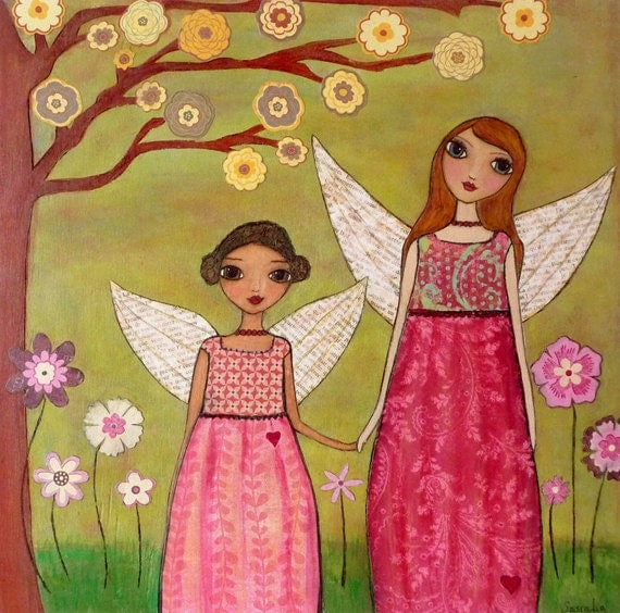 Fairy Sisters Painting Art Block Print