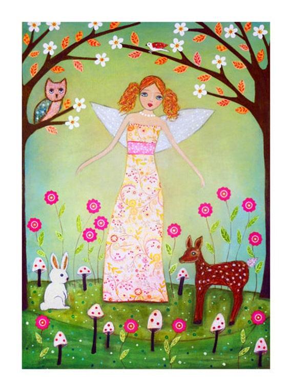 Fairy Fawn Rabbit Owl Painting Art Print Block - Forest Fairy