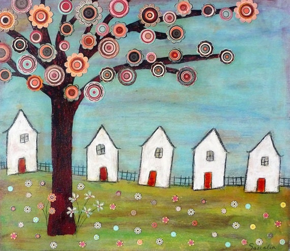 Folk Art House Painting Art Block Print Mixed Media Collage
