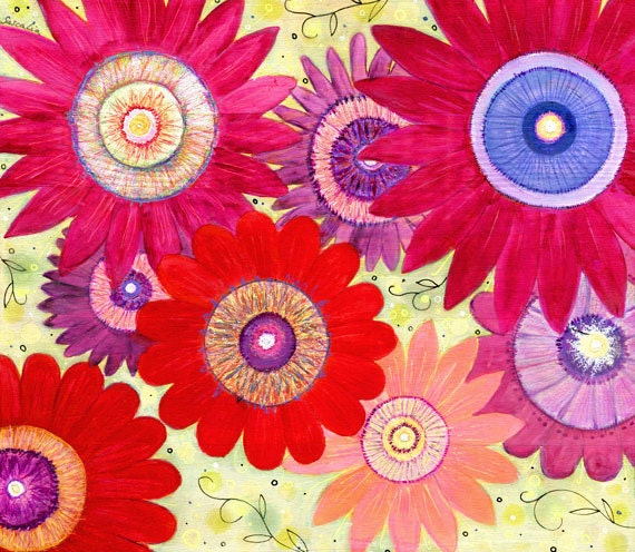 Flower Art - Large Flower Art Print - Abstract Flower Painting - Floral Art - Wall Art - Acrylic Flower Painting - Summer Crush
