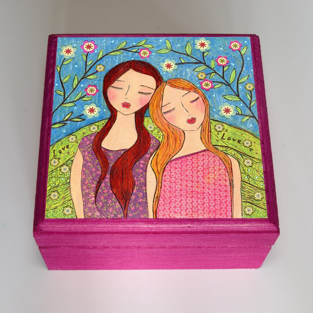 Best Friends Gift Sisters Jewelry Box Handmade Wooden By