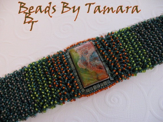 Hand Woven Fringe Bracelet with Polymer Clay cabochon, Green, Orange, Teal