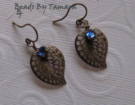 Antique Brass Filigree Leaf Earrings with Blue Roses Montees Rhinestones