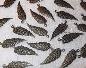 Antique Bronze Leaf Charms, 29mm X 9mm, 50 Pcs