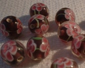 Lampwork Beads, Round, Amethyst with Pink FLowers (5)