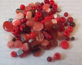Czech Glass Mix - Red Mix 2, 25 grams...no.8000-1289