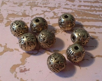Metal Beads, 10mm, Antique Bronze, Round, 8 Pcs     no.2346-AS