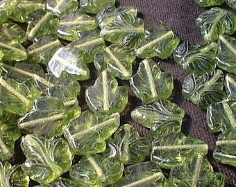 Czech Glass Beads, Pressed, Olivine Ivy Leaf, 16X11mm, 12 pcs.....No. 8000-907