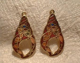 Cloisonne Pendants, Shell, 2 pcs. 37X18mm    No. 61258