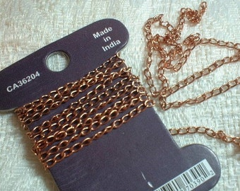 Curb Chain, Antique Copper, Curb, 3X2mm, 1 Meter (No.1104-05h)