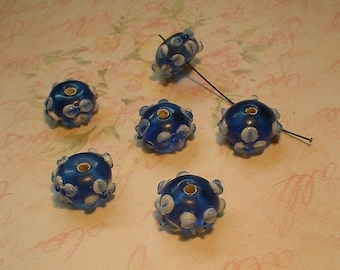 Lampwork Beads, Blue with White Flowers, 6 pcs,  8X13mm, no.4034430-D7