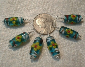Teal Lampwork Charms - 6 pcs - No. TLW-001