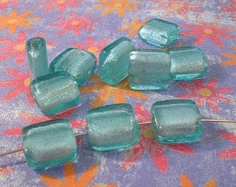 Lampwork Beads, Aqua Blue, Silverfoil, Flat Square 12-13mm, 10 pcs.   no.20512AB