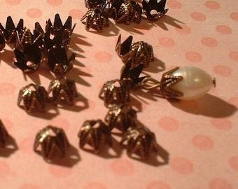 Bead Caps, Antique Copper, 7mm, 50 pcs  ...no. 7M50-AC