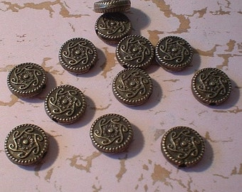 Metal Beads - 10X10X4mm, Coin, Antique Bronze, 12 Pcs    No. 26874-AB