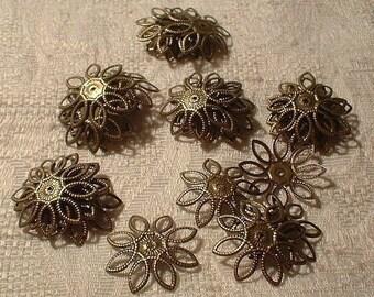 Flower Bead Caps, 22mm, Antique Bronze, Adjustable, 30 pcs. No. 85710BZ
