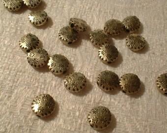 Antique Brass Beads, Coin, 10mm, 12 Pcs.        no. 25285