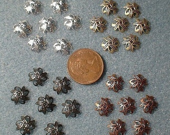 Bead Caps, Choice of Colour, 10mm, 50 pcs.   No. 42423