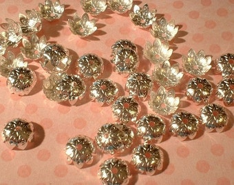 Bead Caps, Silverplated, 9X4mm, 50 Pcs.....No. 34136-SP