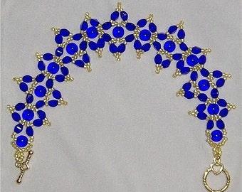 Cobalt Gold Earrings and Bracelet Tutorial Download
