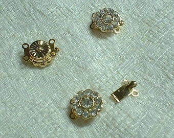 Gold Rhinestone Clasps, 12X10X6mm, 3 pcs