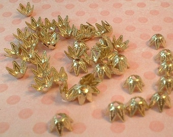 Bead Caps, 7mm, Gold Plated, 50 Pcs.......No. 7M50-AG