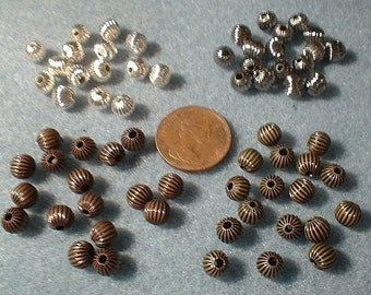 Corrugated Brass Beads, 6mm, Choice of Colour, 30 Pcs.   No. 40436