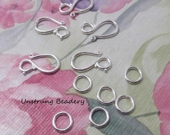 Hook Clasp, Brass, Silverplated, with Closed Jump Ring, 5 sets