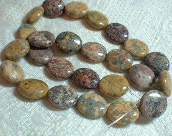 Leopardskin Jasper Beads, Flat Oval, 14X16mm, 1 strand