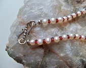Sale/Check Coupon Code - PEARL and GARNET Handstrung Necklace/Valentine Gift