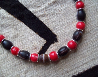 TRIBAL AGATE and CORAL Necklace/Tribal Necklace/African Necklace/Agate Necklace/Coral Necklace