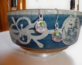 Sale - RECYCLE LOGO Sterling Earrings/Go GREEN Earrings/Recycling Earrings/Sterling Silver Earrings/Sterling Charm Earrings