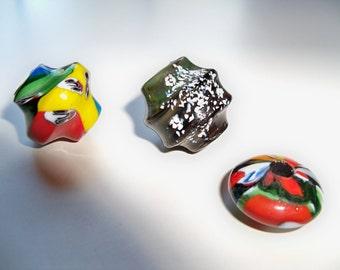 Sale - Multicolored GLASS FOCAL Beads/Lampwork Beads/Large Hole Beads/Focal Beads