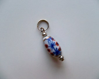 CHINESE Ceramic Oval FOCAL CHARM/Ceramic Charm/Asian Charm/Blue and Rust Oval Bead/Oval Charm with Jumpring
