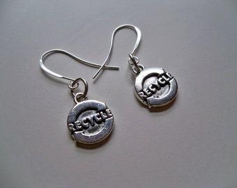 Sale - STERLING Silver RECYCLE LOGO Earrings/Recycle Earrings/Silver Charm Earrings/Silver Logo Earrings/Recycle Symbol Earrings