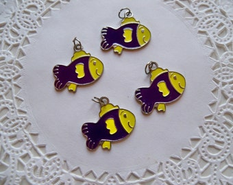 FISH Enamel CHARMS/Purple and Yellow Beads/Animal Charms/Fish Charms/Metal Charms/Animal Beads/Fish Beads