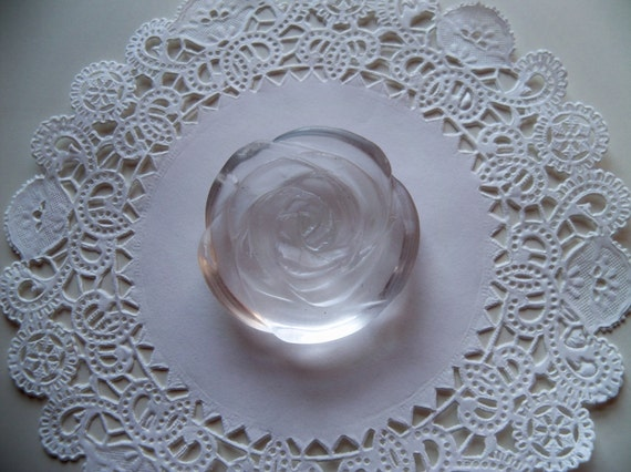Clear CARVED QUARTZ FLOWER Pendant
