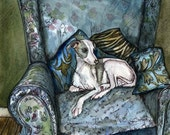 Simply Blue - Whippet Puppy Dog Art Print