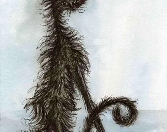 Black Scraggy Cat - Art Print