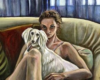 Woman with a Saluki - SALUKI DOG PRINT